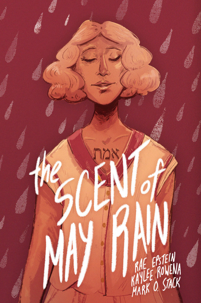 cover for the scent of may rain, depicting the protagonist against a background of stylized raindrops.