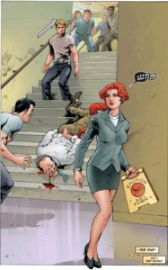 "A redheaded woman walks away holding a ""wet floor"" caution sign. She is whistling. Behind her, a man has fallen down the steps to his death."