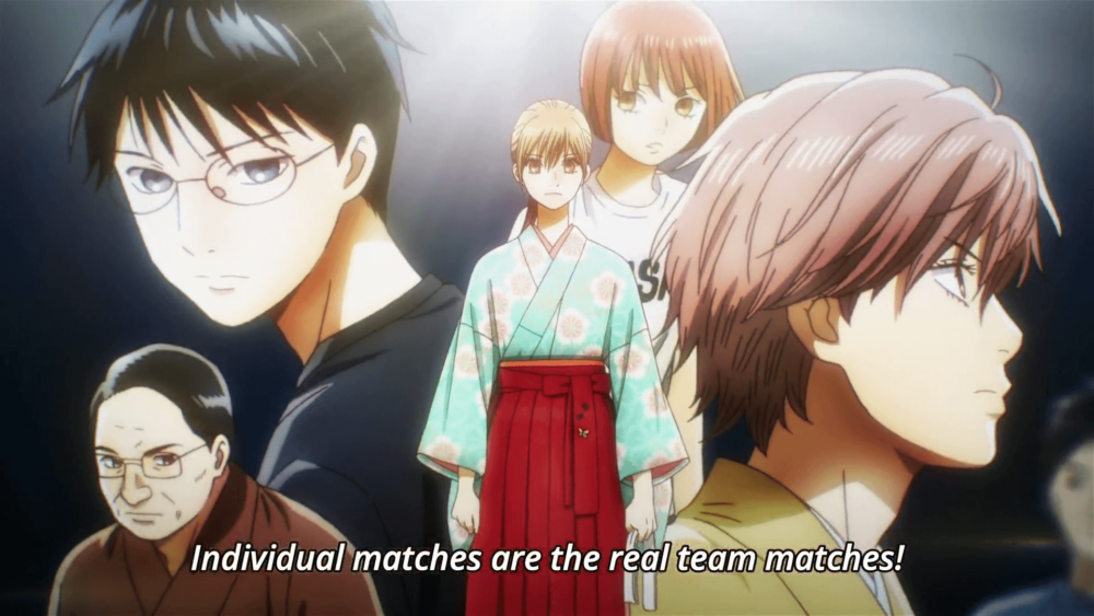 Chihaya from Chihayafuru realizing individual matches are the real team matches.