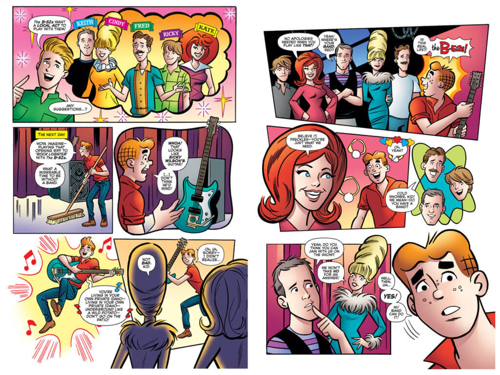 In a series of panels from the comic, Kate Pierson and Cindy Wilson volunteer the band's effort's toward reuniting the Archies