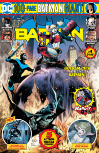 Batman and Nightwing fighting Harley Quinn