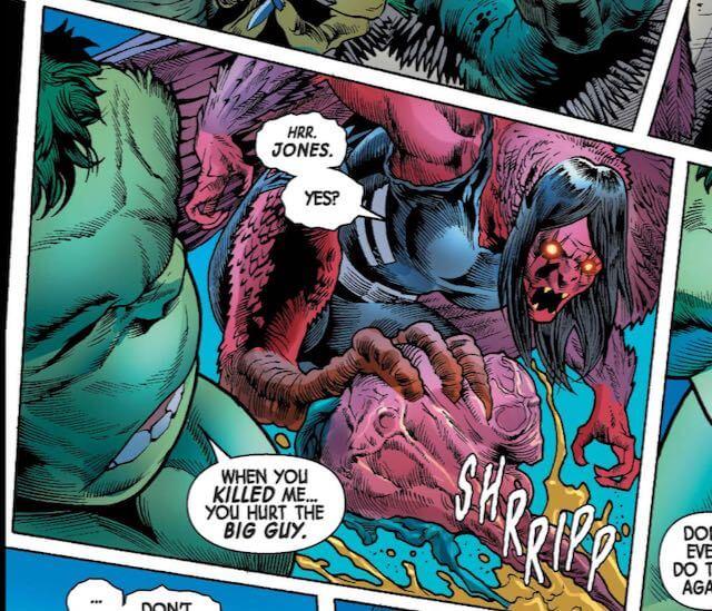 The half woman, haif bird creature and the hulk do battle.