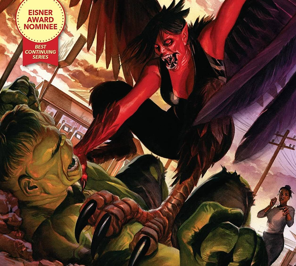 A female winged beast crouches over Hulk on the ground, prepared to attack, as an African American woman runs toward them.