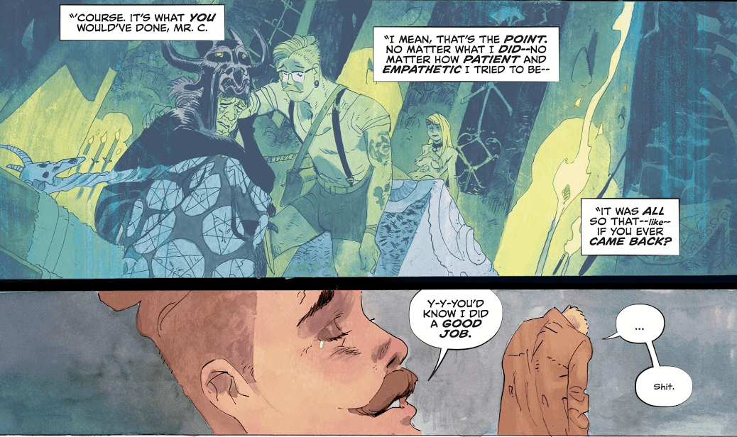 "Two panels from John Constantine: Hellblazer #5. In the first, Willowtree explains that he modeled his behavior on what he believed Constantine would do. In the second, with a tear running from his eye, he explains that it was so that Constantine would know he did a good job. In response, Constantine says, ""Shit."""