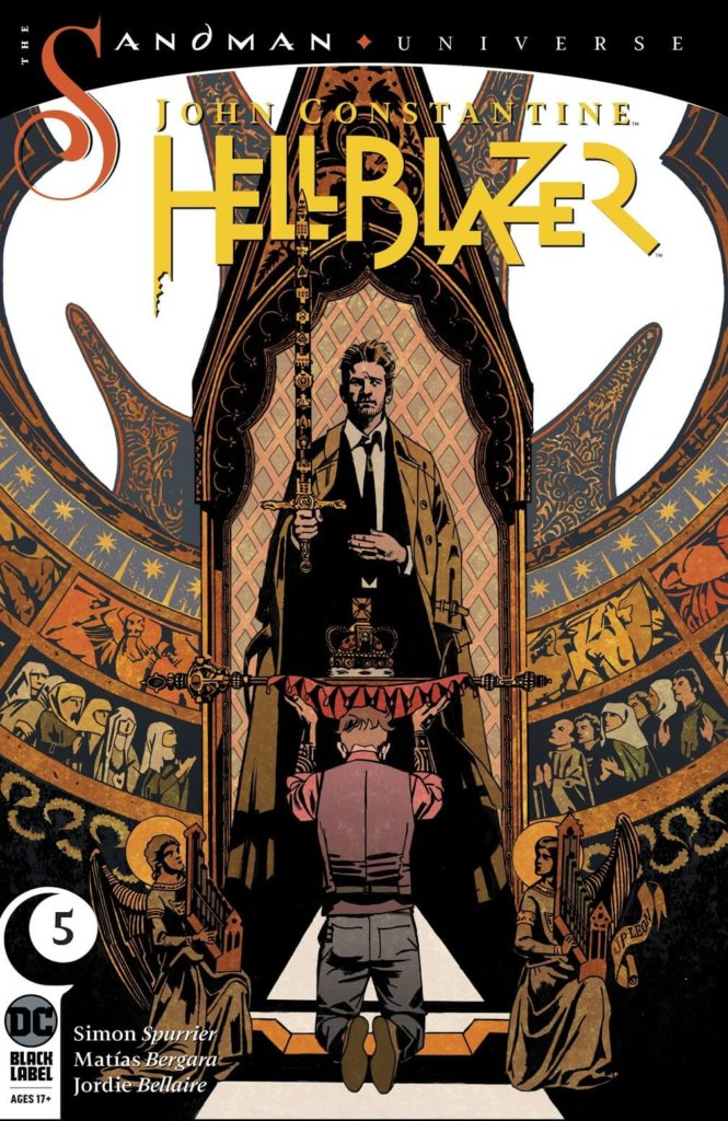 The cover to John Constantine: Hellblazer #5, showing Tommy Willowtree kneeling before John Constantine, who is holding a sword, and presenting him with a scepter and crown.