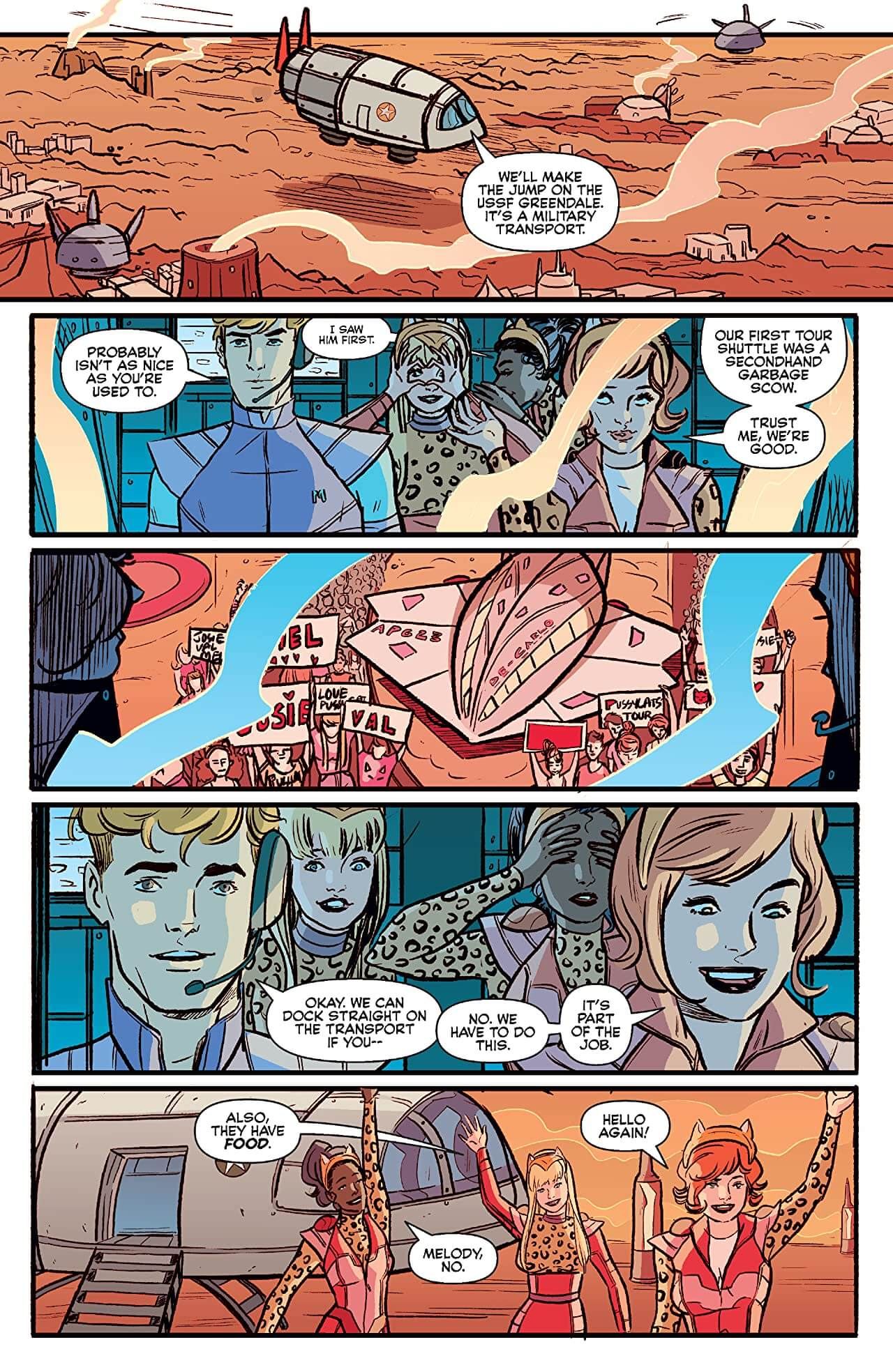 Josie and the Pussycats in Space Page 6. Archie Comics. April 2020