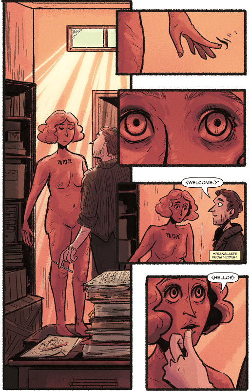 the second page from the scent of may rain, showing how esther the golem comes to life.