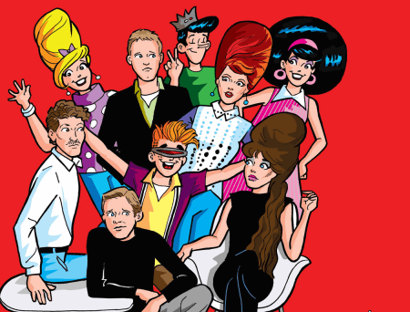 In a visual parody of the B-52s' Wild Planet album cover, the band looks collectively confused as Archie, Veronica, Jughead and Betty crowd into the shot with new-wave outfits and big hair