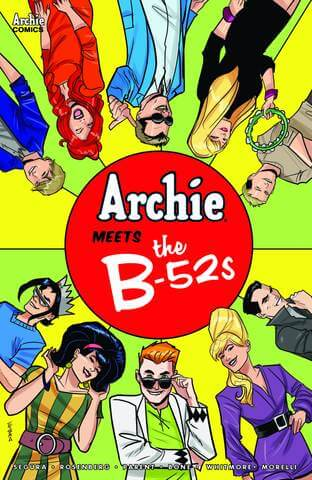 Arranged in a semi-circle around a red ball, the Archies and the B-52s stand. Upon the red ball in the center the title is written.