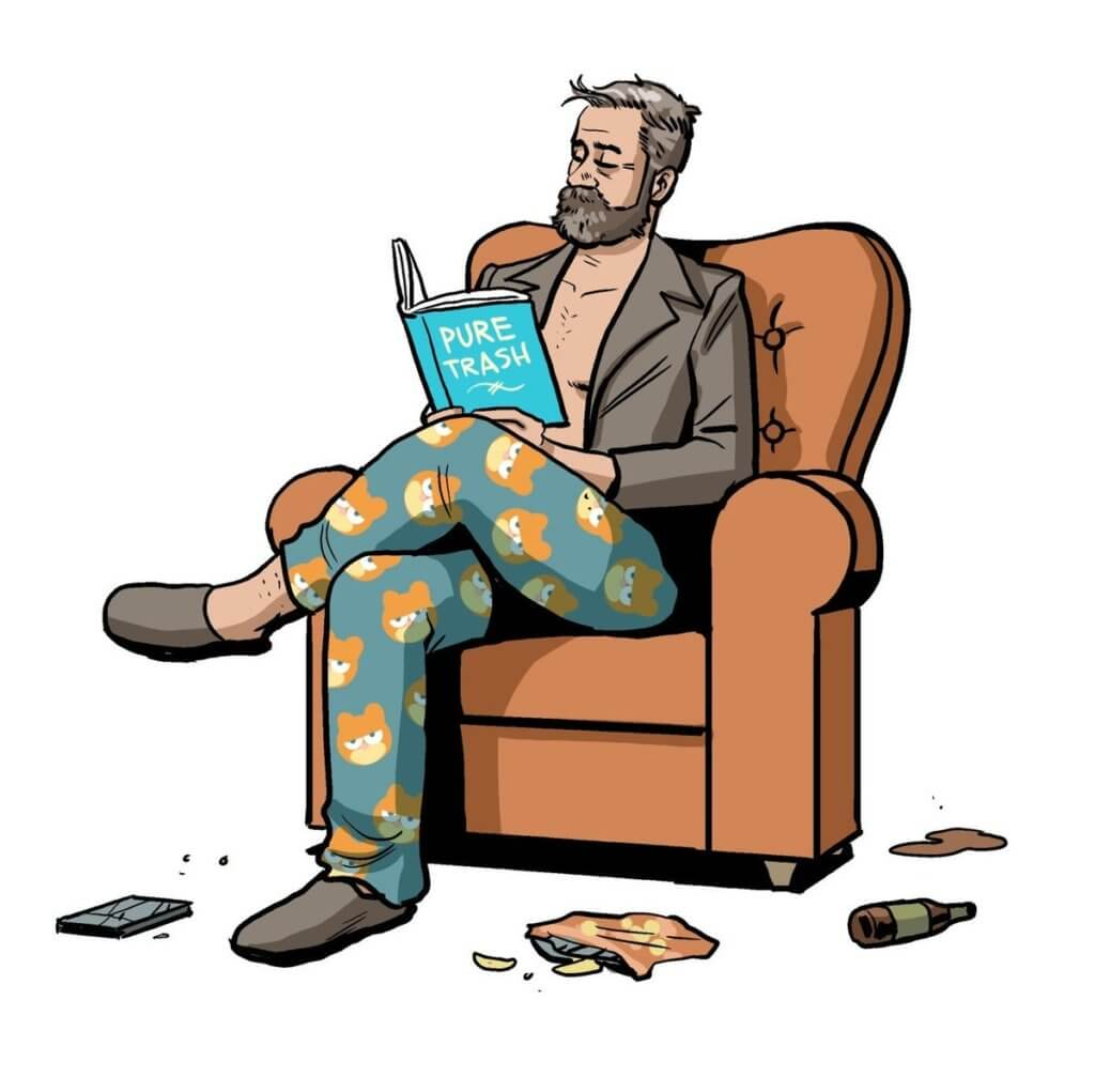 """Chip Zdarsky illustration of himself in a chair reading a book called """"Pure trash"""""""