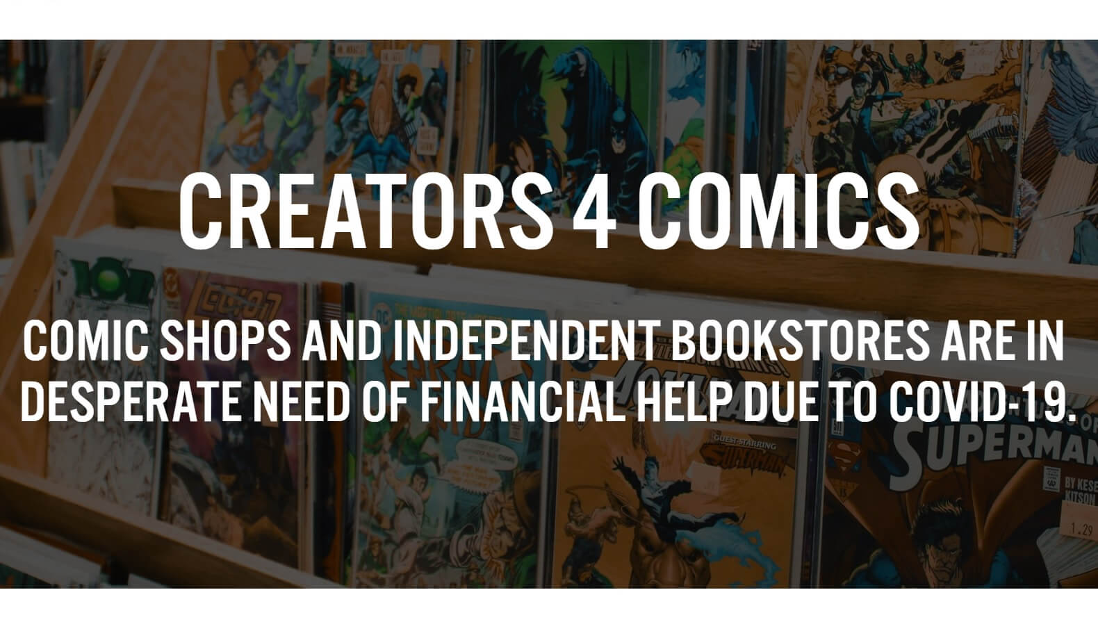 A screencap of the front page of creators4comics.com