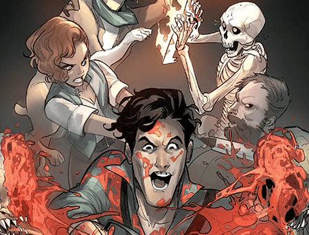 Ash Williams, a dark-haired man, stands in the foreground and is chopping a zombie in half, his face spattered with blood. In the background, a redheaded woman and a skeleton and dog both fight with demons The coloring is dusty, more and more so from the foreground to the background