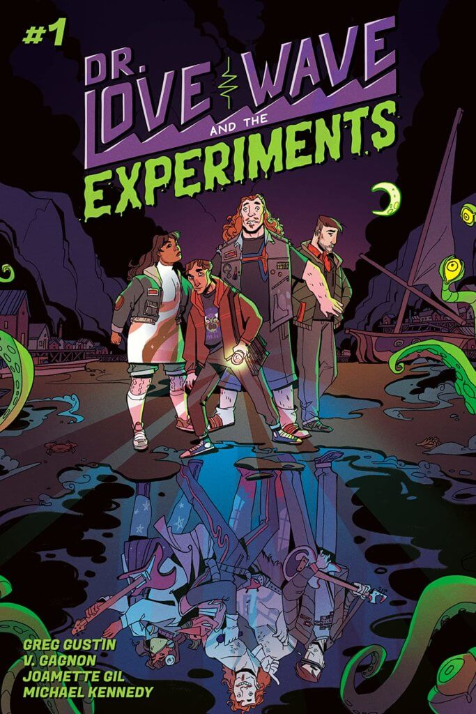 A group of four people stand together, surrounded by reaching tentacles. A puddle reflects an image of them as a spacey punk rock band
