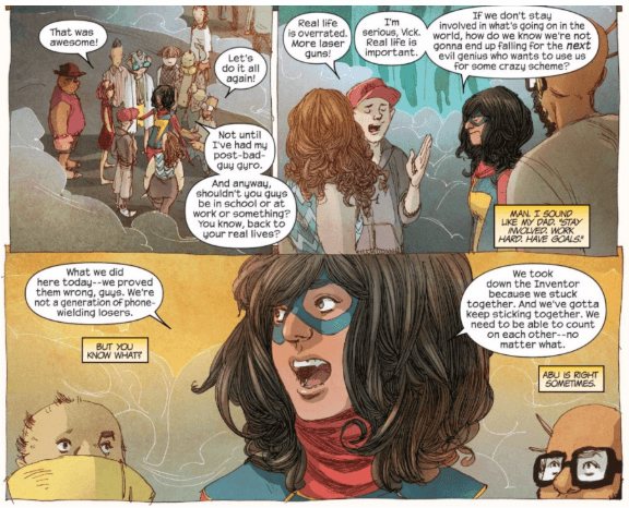 Ms. Marvel having a discussion with a group of people