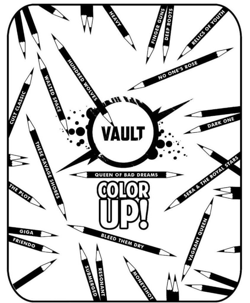 pencils with the names of various Vault Comics titles