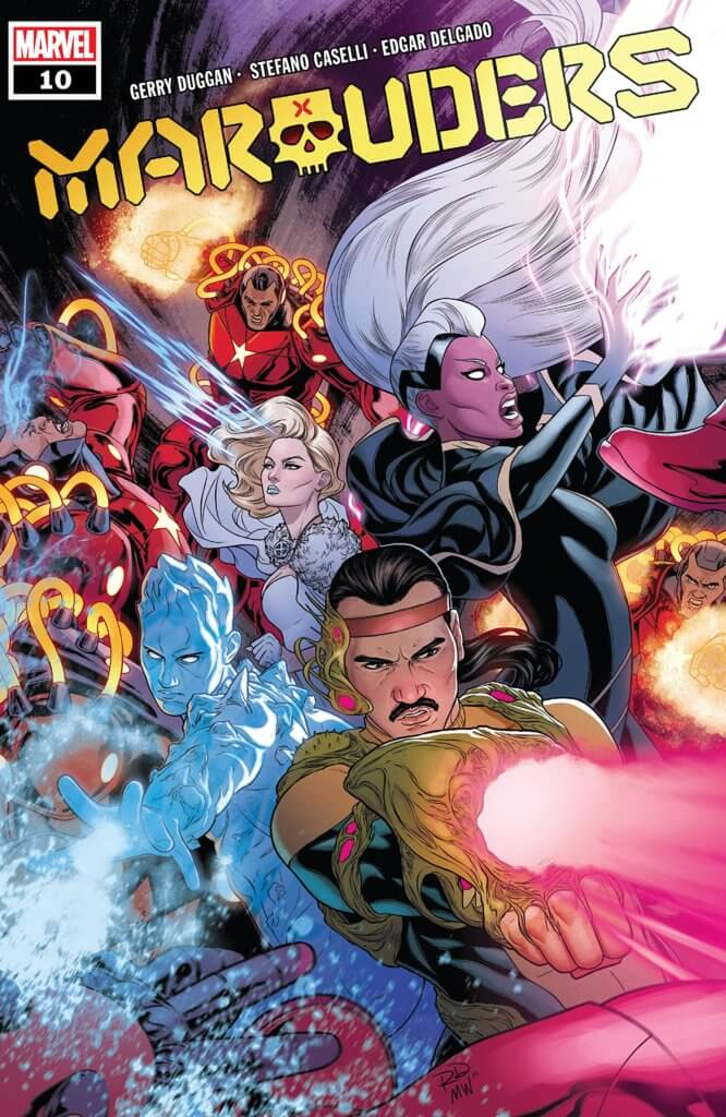 The Marauders, led by Emma Frost and accompanied by Forge, are on the attack