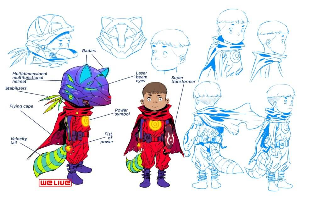Character designs for the young hero of We Live, Hototo.