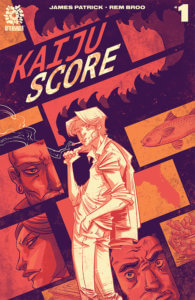 A man, depicted in two-tone orange and white, smokes a cigarette on Rem Broo's cover for The Kaiju Score #1.