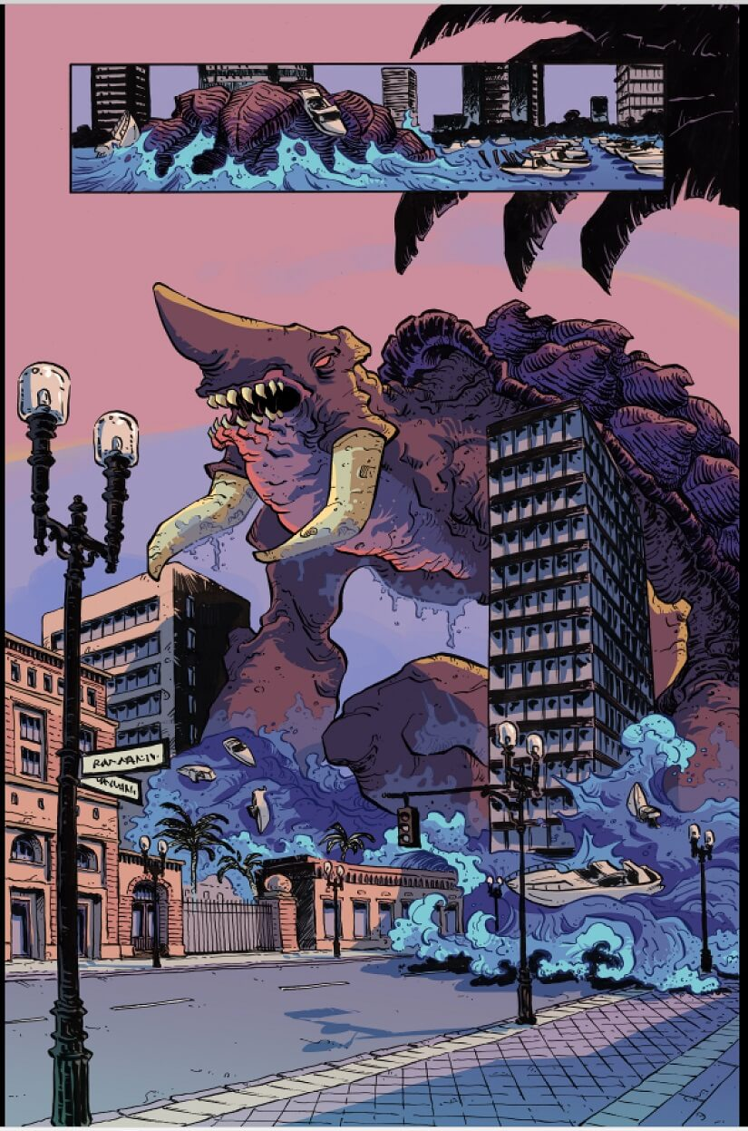 A kaiju menaces a city in this preview page from The Kaiju Score, upcoming from AfterShock Comics.
