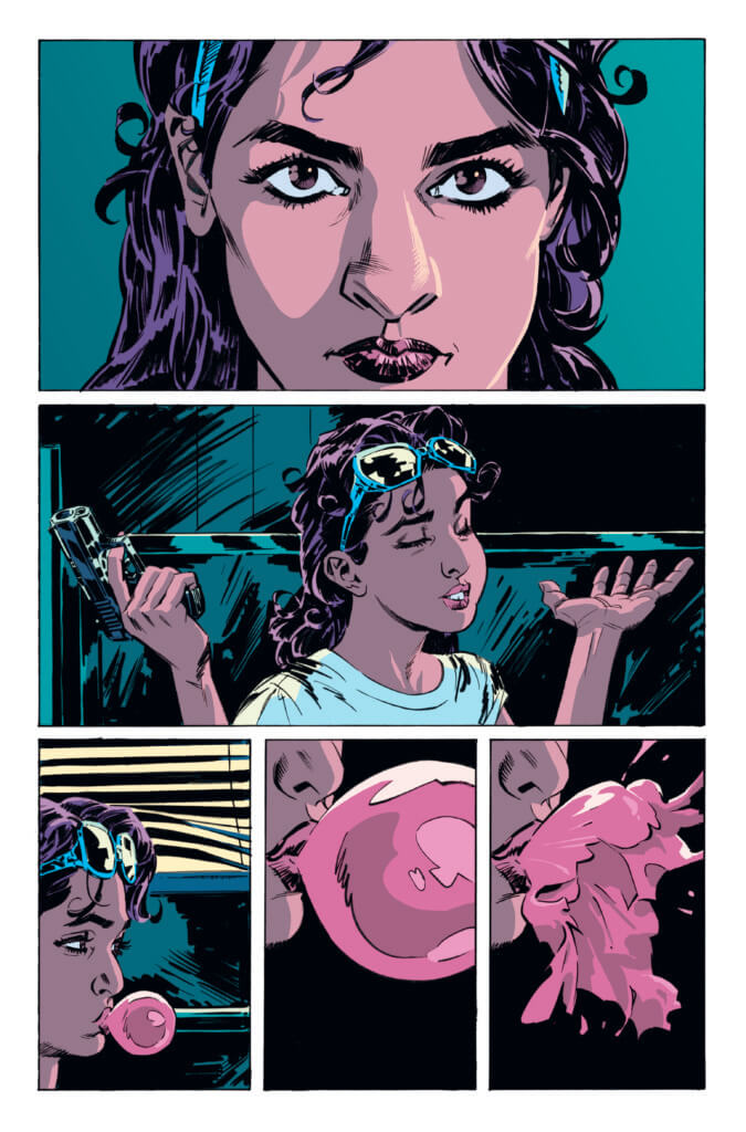 A woman interacts with her daughter in striking, dark tones in art by Stephen Molnar in a review page for AfterShock Comics' upcoming Miles To Go #1.