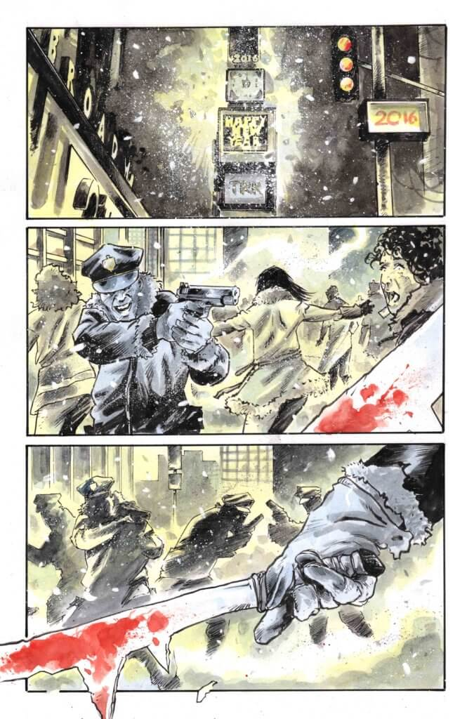 Chaos erupts in New York City on New Years Eve as a killer haunts the streets in this preview page from Maniac of New York #1, due from AfterShock Comics in February 2020.