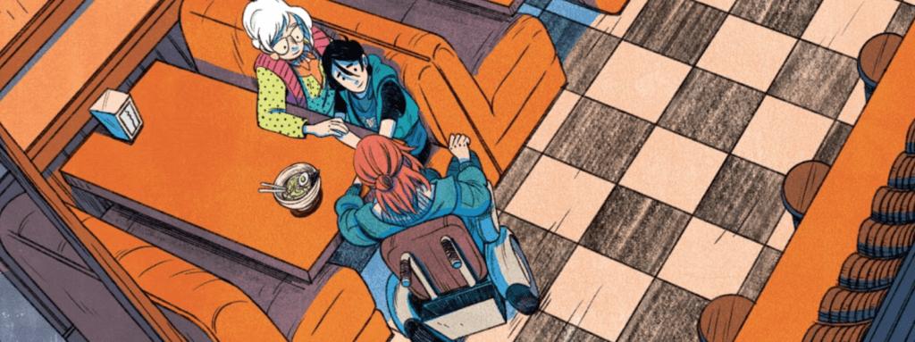"Image from Sarah Kuhn and Nicole Goux's Shadow of the Batgirl depicting Jacqueline Fujikawa Yoneyama, Cassandra ""Cass"" Cain, and Barbara Gordon"