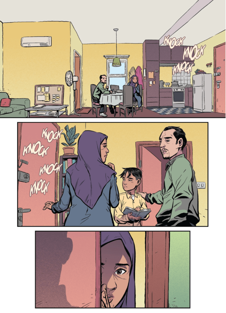 Page from Minh Lê and Andie Tong's Green Lantern Legacy depicting Hamid's family at the kitchen table, together responding to knocking on the door, and his mom opening the door.