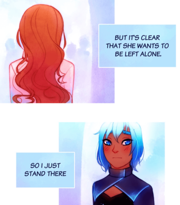 panels from Always Human. Austen is walking away from Sunati, leaving Sunati worried and upset. The colors are bright and neon in this digital edition