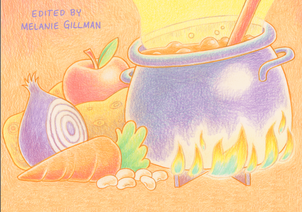 ingredients and a toasty cauldron by Melanie Gillman, the cover of the recipe zine reviewed here