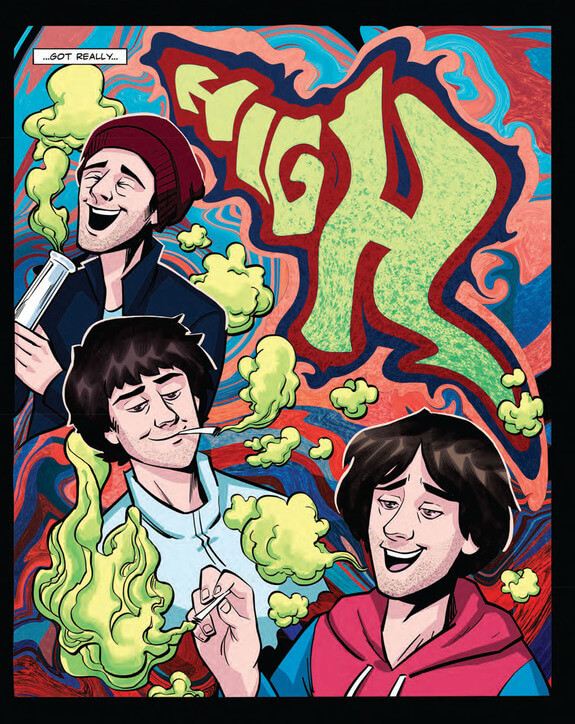 In a stylized panel, Dan Avidan and his bandmates in The Northern Hues get high on pot. There is green smoke billowing from their mouths.