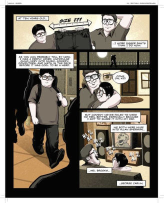 In sepia tones, a young Brian Wecht meets with his father and his childhood