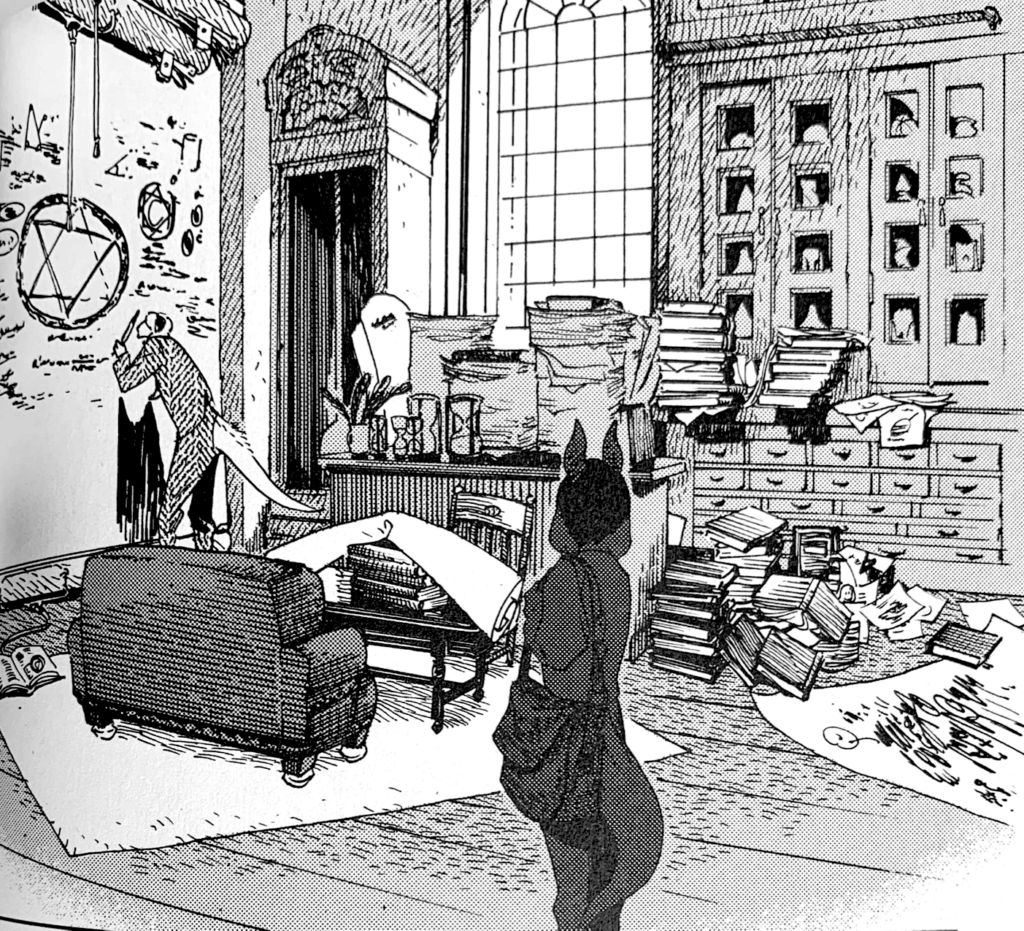A lizard professor writes on the board in his academic office in a panel from The Wize Wize Beasts of the Wizarding Wizdoms, by Nagabe, Seven Seas Entertainment, 2019