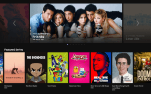 Image from Friends of character drinking milkshakes displayed prominently in the middle banner with over various media listed below in streaming interface with black background