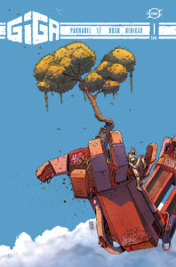 A giant robot arm up above the clouds with a tree growing out of the palm of the hand