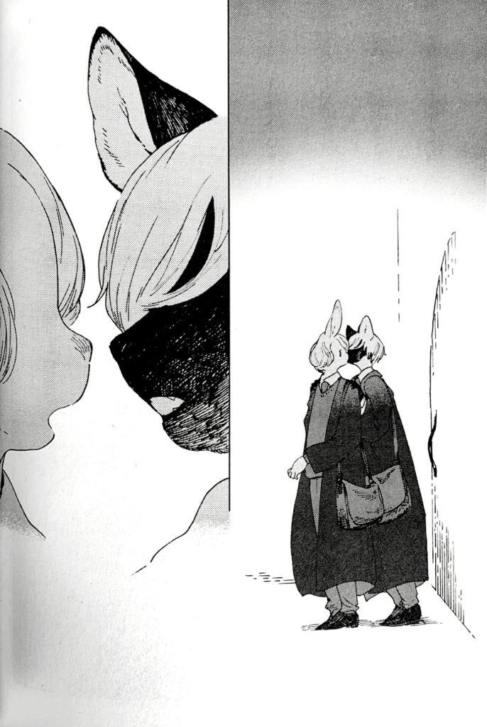 An anthro cat and anthro bunny stand next to one another in robes in the first panel; they almost kiss in the next panel, the background is blank. from Two panels from he Wize Wize Beasts of the Wizarding Wizdoms, by Nagabe, Seven Seas Entertainment, 2019.