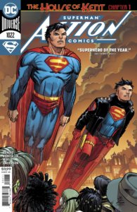Superman and Superboy flying