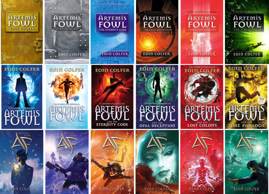 A compilation of the different edition covers of the Artemis Fowl book series by Eoin Colfer.