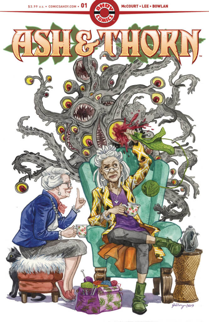 Two older women try to have a nice cup of tea and a chat while a tentacled monster looms behind them