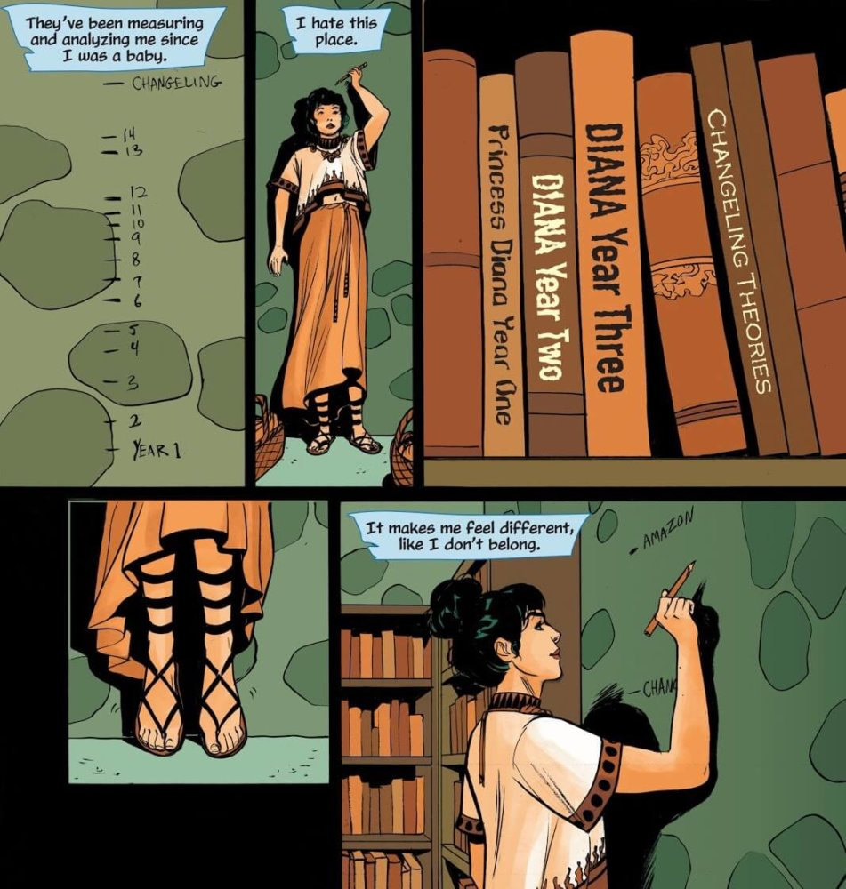Panels from Wonder Woman: Tempest Tossed by writer Laurie Halse Anderson, artist Leila del Duca, colorist Kelly Fitzpatrick, and letterer Saida Temofonte depicting Diana in the Themyscira healer's compound near research about her