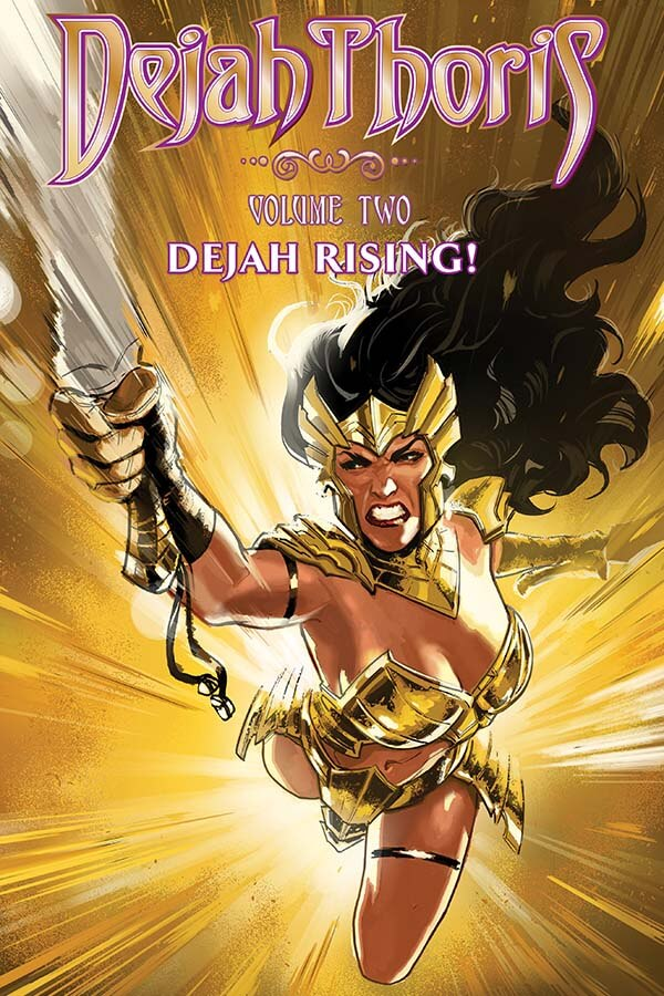 Dejah Thoris in gold armour, flying forward, sword outstretched, with an angry and determined look on her face