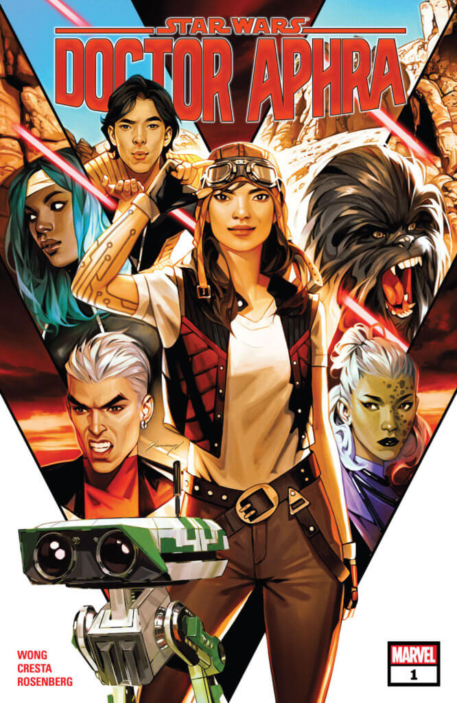 Doctor Aphra #1 cover, Aphra stands in the middle of a montage of all her supporting characters
