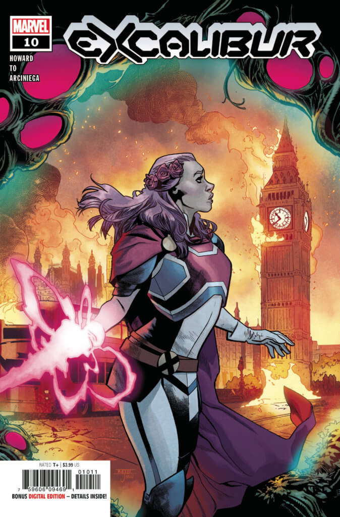 Captain Britain looking at a burning London (Excalibur #10 cover)