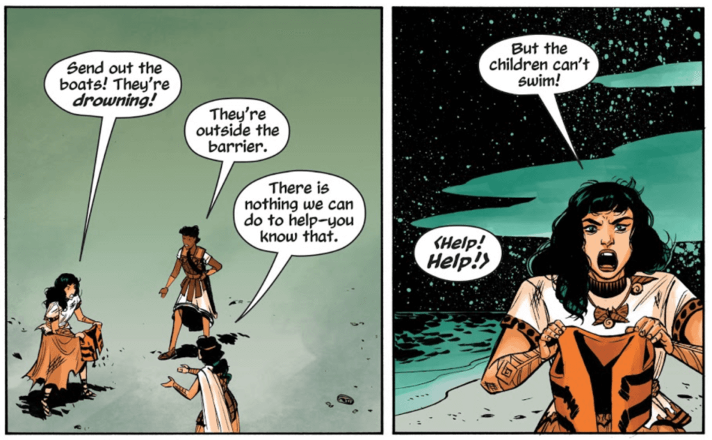 Panels from Wonder Woman: Tempest Tossed by writer Laurie Halse Anderson, artist Leila del Duca, colorist Kelly Fitzpatrick, and letterer Saida Temofonte depicting Diana holding a child's life preserver