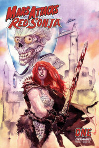 Red Sonja - a red-headed woman in a fur cape and metallic bikini - stands before a vaguely phallic castle, which is sketched in an outline behind her. There's a large silhouette of a Mars Attacks! Martian behind her, with its large head and teeth, his yellow eyes glaring at the reader malevolently. Sonja holds and brandishes a sword menacingly, and the background art fades from purple to pink to gold
