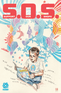 A young boy opens a comic book and endless illustrations pour from its pages on David Mack's cover for AfterShock's S.O.S. benefit comic.