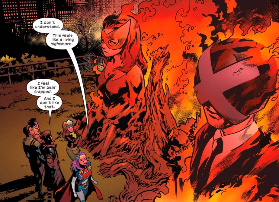 Burning Effigies of Xavier and Marverl Girl and a Ruined Gate stand before Excalibur in Excalibur #10