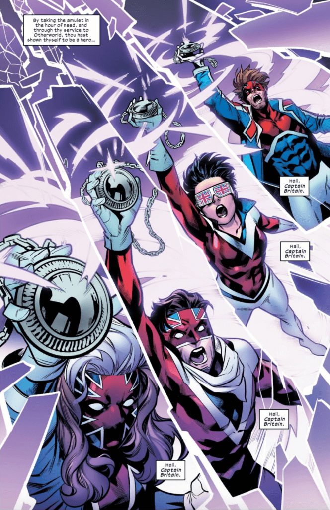 Rogue, Rictor, Jubilee, and Gambit as the New Captains Britain in Excalibur #10