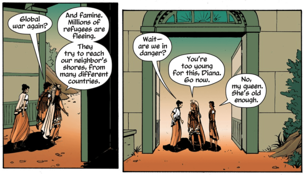 Panels from Wonder Woman: Tempest Tossed by writer Laurie Halse Anderson, artist Leila del Duca, colorist Kelly Fitzpatrick, and letterer Saida Temofonte depicting Diana speaking to her mother and another Amazon