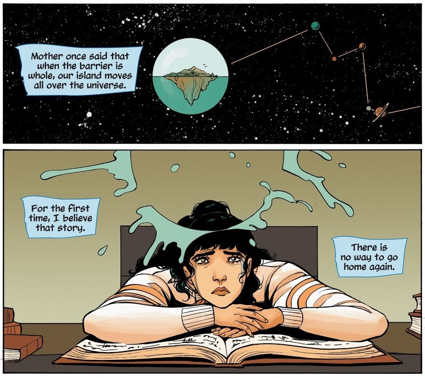 Panels from Wonder Woman: Tempest Tossed by writer Laurie Halse Anderson, artist Leila del Duca, colorist Kelly Fitzpatrick, and letterer Saida Temofonte depicting Diana thinking about Themyscira