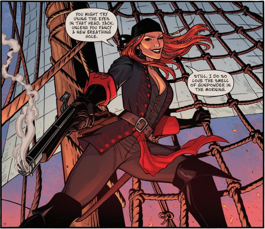 A smiling redheaded pirate points her pistol at an enemy